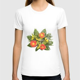 Arranged handheld wedding bouquet of freesia and gerbera T-shirt