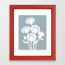 Cornflower in Dusky Blue - Original Floral Botanical Papercut Design Framed Art Print
