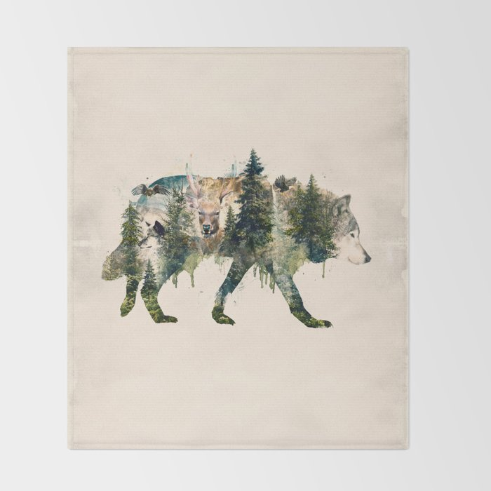 Wolf is the Pride of Nature Throw Blanket