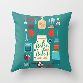 Julie and Julia, minimal movie poster, Meryl Streep, Amy Adams, Nora Ephron film, Julia Child, cook Throw Pillow
