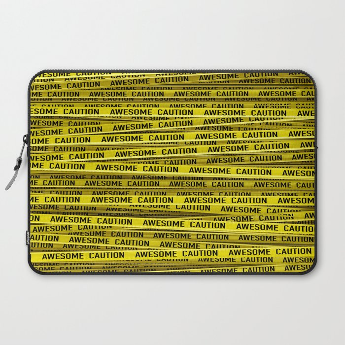 AWESOME, use caution / 3D render of awesome warning tape Laptop Sleeve