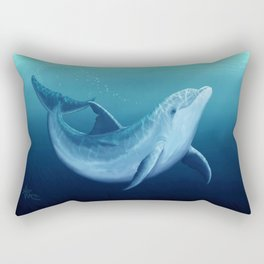 """Riversoul Blue"" by Amber Marine ~ Dolphin Art, (Copyright 2014) Rectangular Pillow"