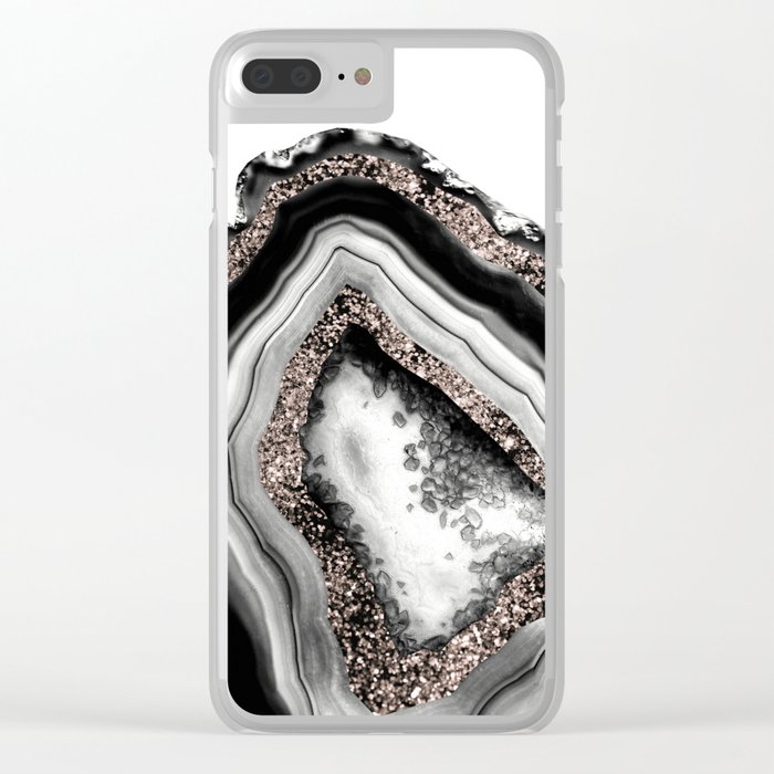 Agate Rose Gold Glitter Glam #4 #gem #decor #art #society6 Clear iPhone Case