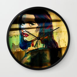 Painted Persephone On Rust Wall Clock