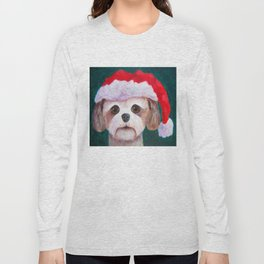 Christmas Shih Tzu By Annie Zeno Long Sleeve T-shirt