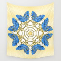 bees Wall Tapestries featuring Heavenly Bees by Lorelei Douglas