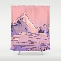 peach Shower Curtains featuring Peach Sunset by 8PXL