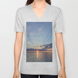 A Seattle Sunset Unisex V-Neck