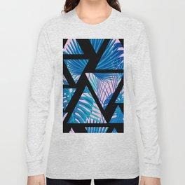 Geometrical black pink navy blue watercolor tropical leaves Long Sleeve T-shirt
