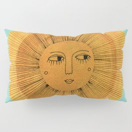 Sun Drawing - Gold and Blue Pillow Sham