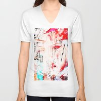 the fault V-neck T-shirts featuring FAULT LINE by JAMES JAEGER