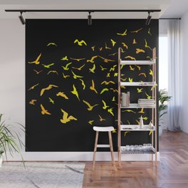 Seagulls gold silhouette on black background Wall Mural