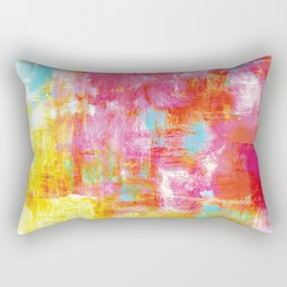 OFF THE GRID 2 Colorful Pink Pastel Neon Abstract Watercolor Acrylic Textural Art Painting Rainbow Rectangular Pillow