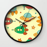 outer space Wall Clocks featuring Outer space by olillia