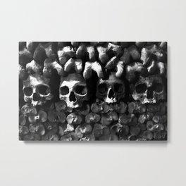Skulls - Paris Catacombs, black and white version Metal Print
