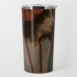 Girl with red necklace Travel Mug