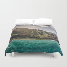 Na Pali Coast Kauai Hawaii Printable Wall Art | Tropical Beach Nature Ocean Coastal Travel Photography Print Duvet Cover