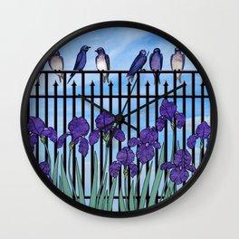 purple martins & purple irises Wall Clock