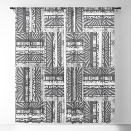 rectangle  pattern black white Sheer Curtain