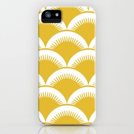 Japanese Fan Pattern Mustard Yellow iPhone Case