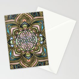 Flower of Life in Lotus - Marble and Gold Stationery Cards