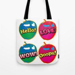 Comic Wow Hello Love Pink Apple Pop Art Tote Bag