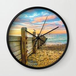 Cromer Beach at Sunset Wall Clock