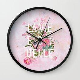 LAVIE EST BELLE - Watercolor -Pink Flowers Roses - Rose Flower Wall Clock