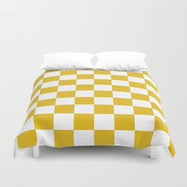 Mustard Yellow Checkers Pattern Duvet Cover