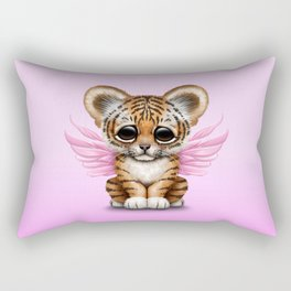Cute Baby Tiger Cub with Fairy Wings on Pink Rectangular Pillow