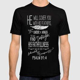 Psalm 91:4 Christian Bible Verse Typography Design T-shirt