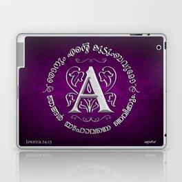Joshua 24:15 - Monogram A (Silver on Magenta) Laptop & iPad Skin