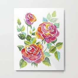 Watercolor bouquet of red roses, with green leaves Metal Print