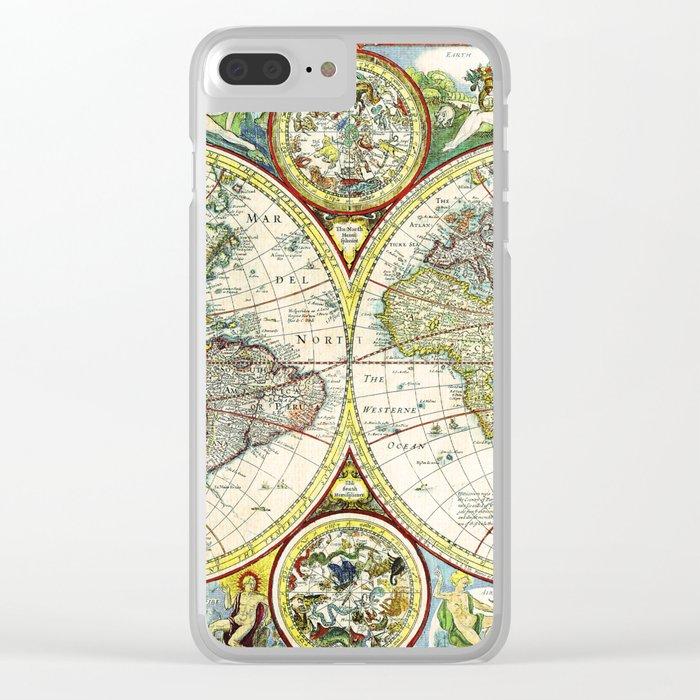 Vintage World Map Antique Clear iPhone Case