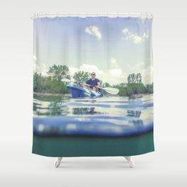 Young Man Kayaking on Lake, Kayaking Underwater View, Split Shot. Shower Curtain
