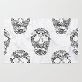 Modern hand drawn floral lace black marble skulls on white marble Rug