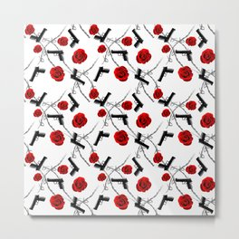 Roses Barbed Wire Guns Pattern Love Is War Metal Print