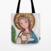 agnes cecile Tote Bags featuring Saint Agnes by Flor Larios Art