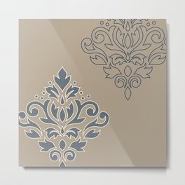 Scroll Damask Art I (outline) Crm Blues Taupe Metal Print