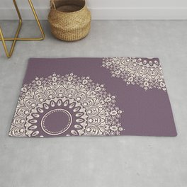 Lace in White on Pale Purple Background Rug