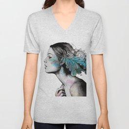 Moral Eclipse II   doodle woman portrait Unisex V-Neck