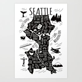 Seattle Illustrated Map in Black and White - Single Print Art Print