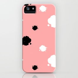 black and white ink blots on pink background pattern iPhone Case