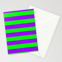 Green and Purple Stripes Stationery Cards