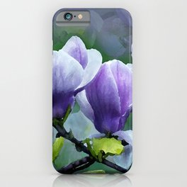 When Magnolias Bloom in Purple iPhone Case