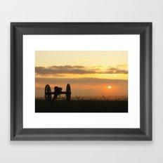 Sunrise on a foggy Battlefield Framed Art Print