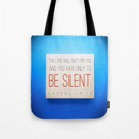 silent Tote Bags featuring SILENT by Peter Gross