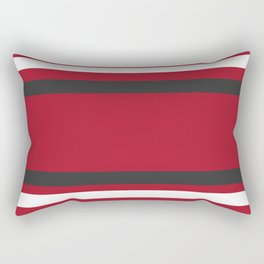 Red and Gray Bold Sport Jersey Stripes Rectangular Pillow