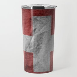 Old Vintage Grunge Switzerland Flag Travel Mug