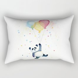 Birthday Panda Balloons Cute Animal Watercolor Rectangular Pillow